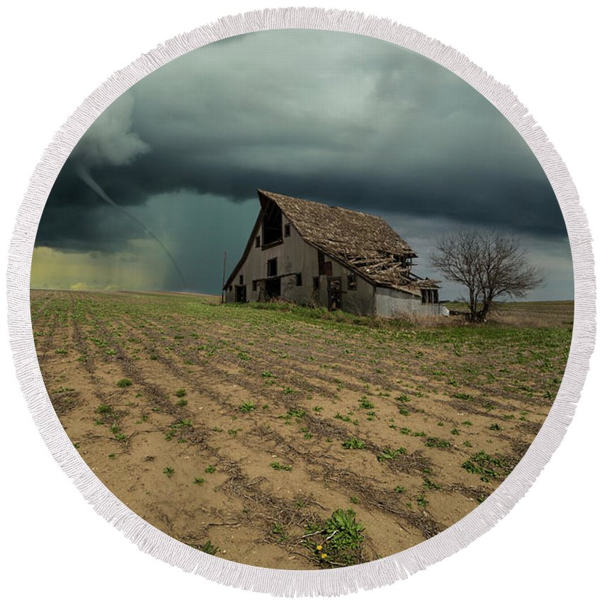 Tornado Round Beach Towel featuring the photograph Doomsday by Aaron J Groen