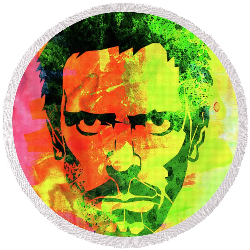 Movies Round Beach Towel featuring the mixed media Dr. Gregory House Watercolor by Naxart Studio