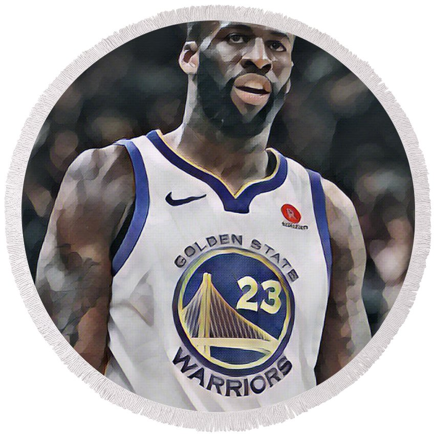 Draymond Green Round Beach Towel featuring the mixed media Draymond Green Golden State Warriors Abstract Art 1 by Joe Hamilton