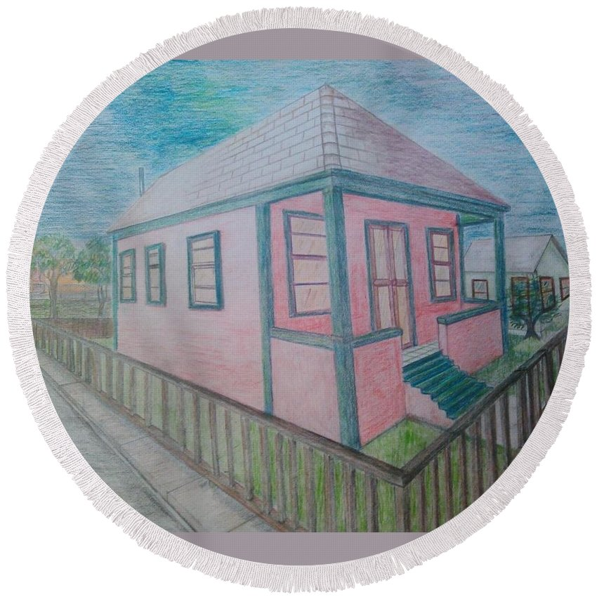Drawing By Andrew Johnson Round Beach Towel featuring the drawing Dream Cottage by Andrew Johnson