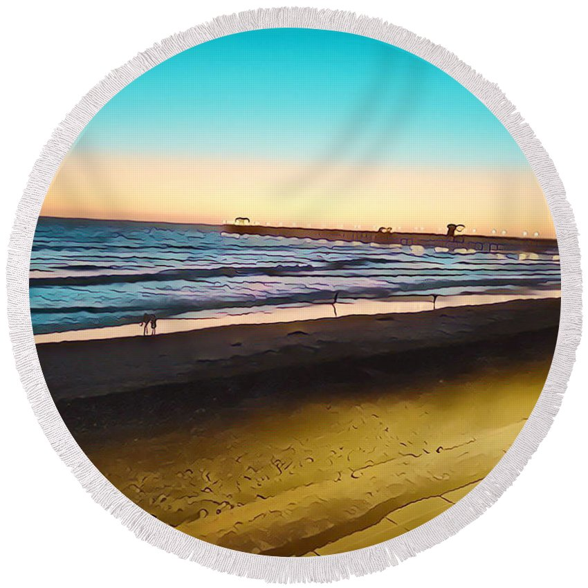 Ocean Dusk Seaside Sea Pacific Ocean Sothern California The Strand Sunset Ocean Sunset California Southern Pacific Ocean Gold Blue Turquoise Round Beach Towel featuring the mixed media Dusk On The Strand by Tammera Malicki-Wong