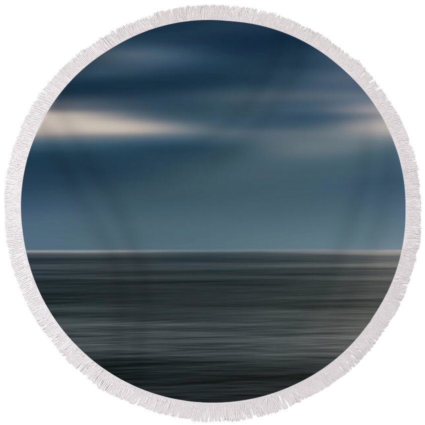 Photography Round Beach Towel featuring the photograph Dusk Stormy At Sea by Vicente Sargues