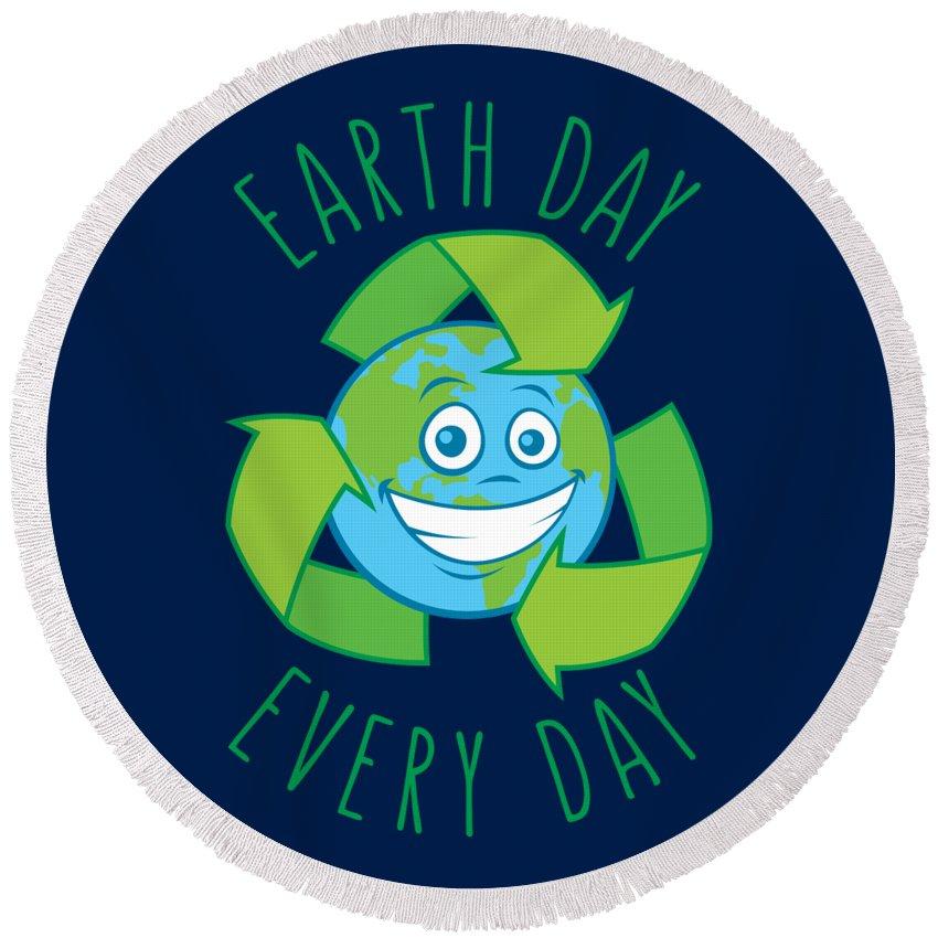 Green Round Beach Towel featuring the digital art Earth Day Every Day Recycle Cartoon by John Schwegel