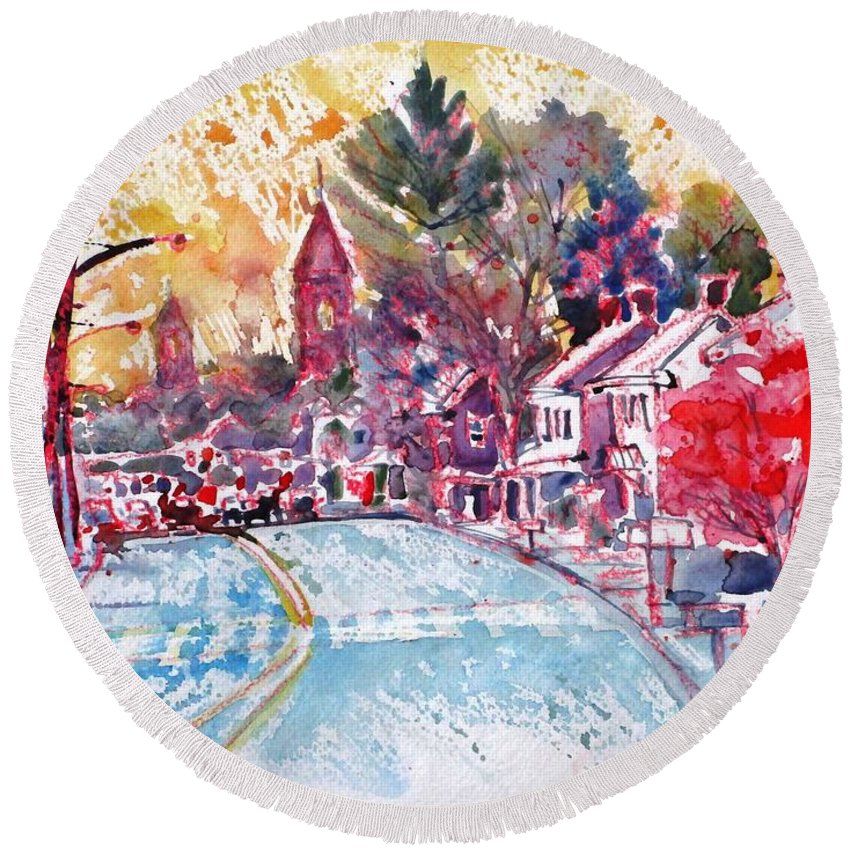 East Berlin Round Beach Towel featuring the painting East Berlin Streetscape by Larry Lerew