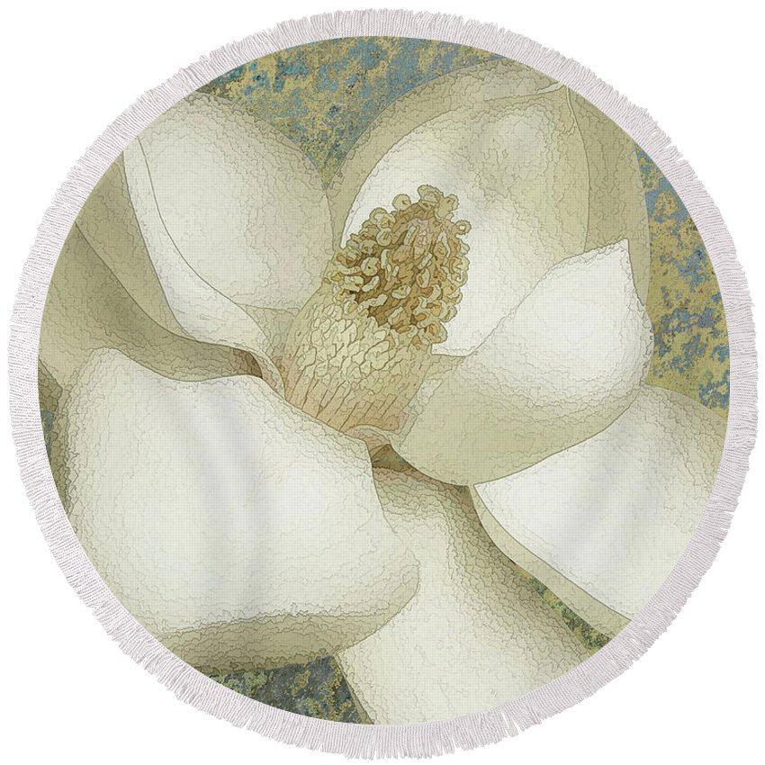 Magnolia Round Beach Towel featuring the photograph Elegant Magnolia by Banyan Ranch Studios