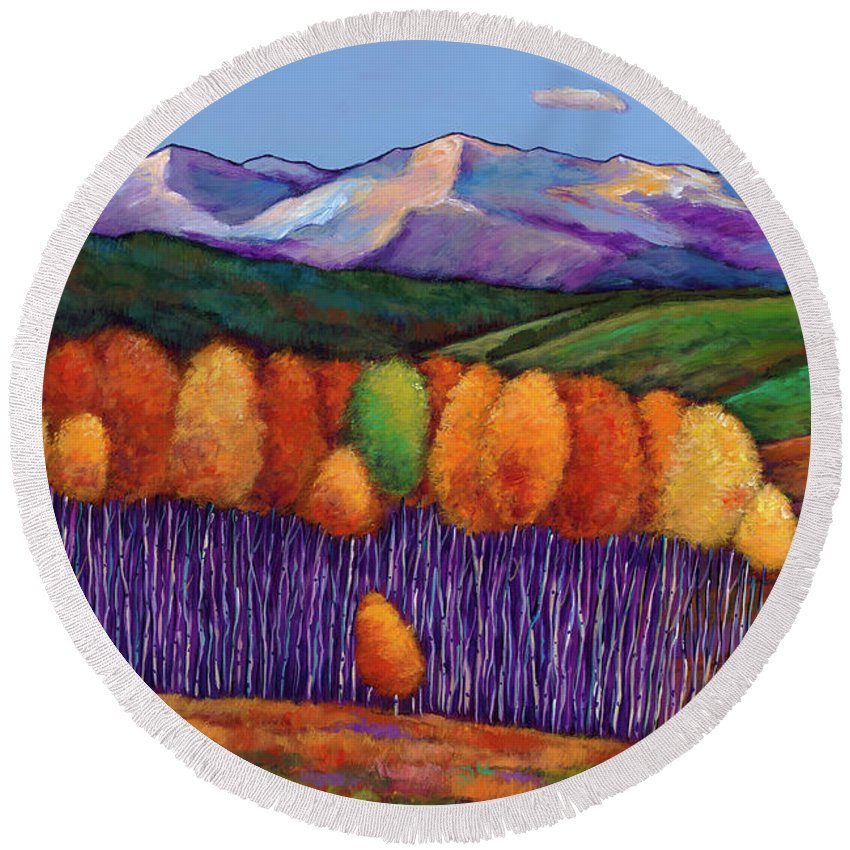 Aspen Trees Round Beach Towel featuring the painting Elysian by Johnathan Harris