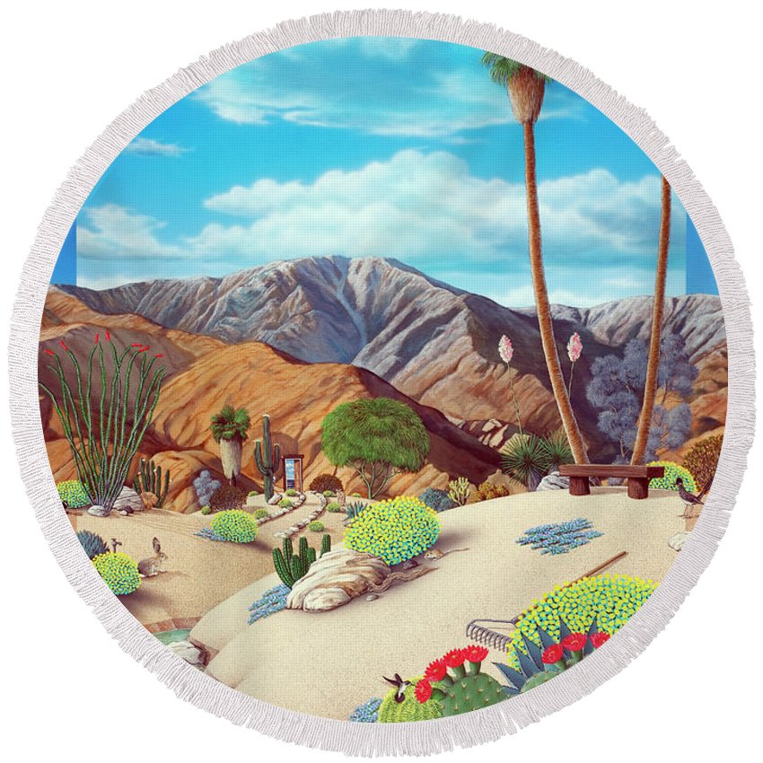Desert Round Beach Towel featuring the painting Enchanted Desert by Snake Jagger