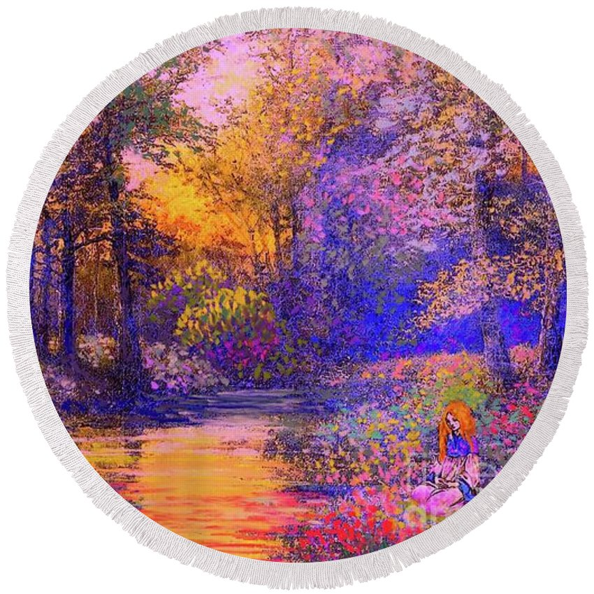 Woman Round Beach Towel featuring the painting Enchanted Prayer by Jane Small