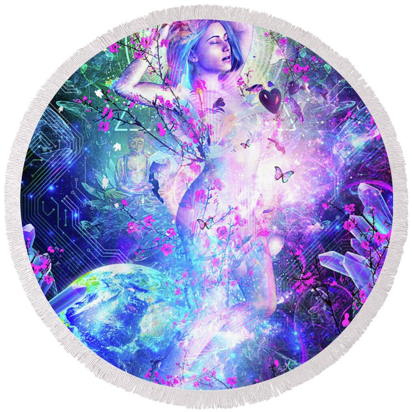 Cameron Gray Round Beach Towel featuring the digital art Encounter With The Sublime by Cameron Gray
