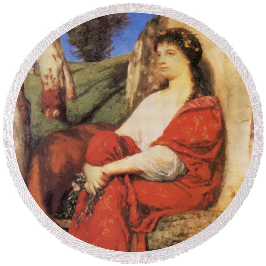 Euterpe Round Beach Towel featuring the painting Euterpe 1872 by Bocklin Arnold
