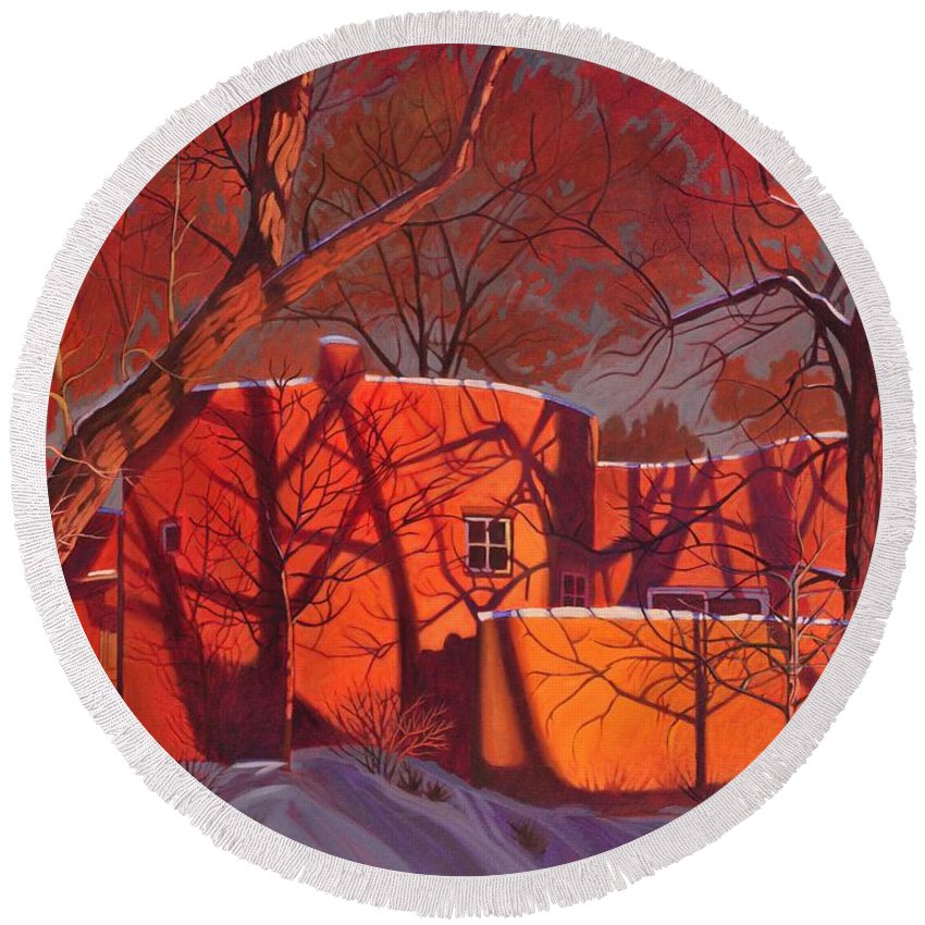 Taos Round Beach Towel featuring the painting Evening Shadows On A Round Taos House by Art West