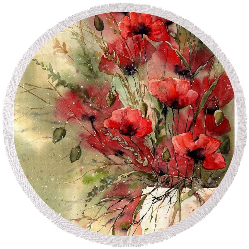 Red Round Beach Towel featuring the painting Everything About Poppies I by Suzann Sines