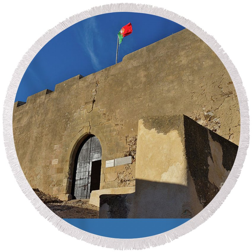 Castro Marim Round Beach Towel featuring the photograph Facade Of The Medieval Castle Of Castro Marim by Angelo DeVal