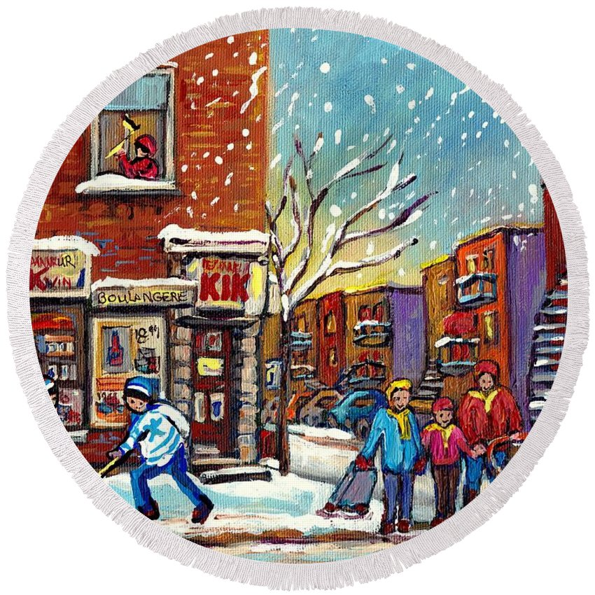 Montreal Round Beach Towel featuring the painting Face Off Street Hockey At The Corner Dep Snow Falling Streets Of Montreal Quebec Artist C Spandau by Carole Spandau