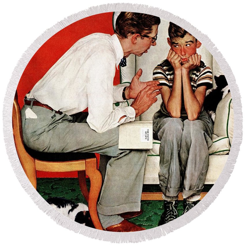 Boy Round Beach Towel featuring the drawing Facts Of Life by Norman Rockwell
