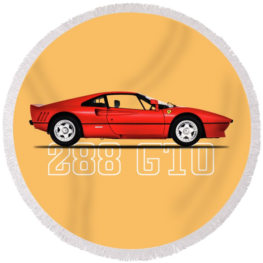 Ferrari 288 Gto Round Beach Towel featuring the photograph Ferrari 288 Gto by Mark Rogan
