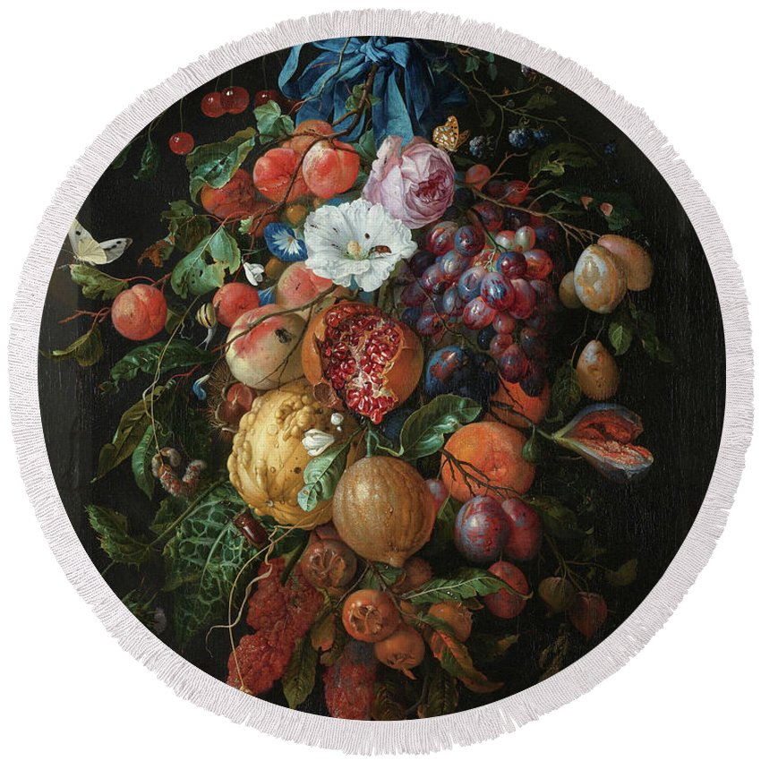 Jan Davidsz De Heem Round Beach Towel featuring the painting Festoon Of Fruit And Flowers, 1670 by Jan Davidsz de Heem