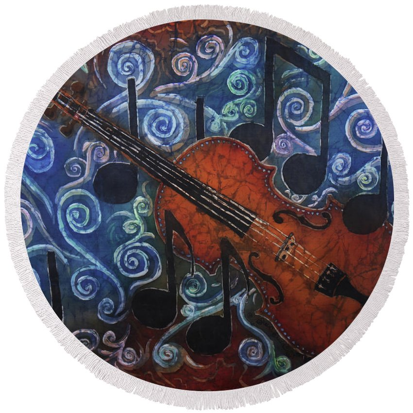 Fiddle Round Beach Towel featuring the painting Fiddle 1 by Sue Duda
