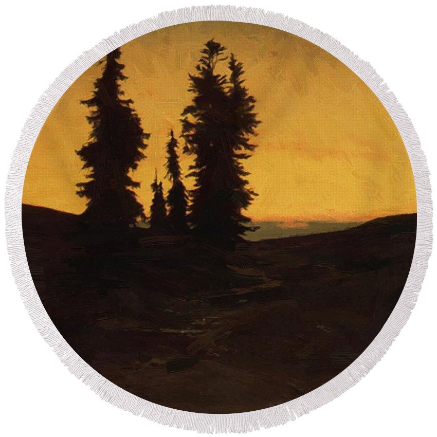 Fir Round Beach Towel featuring the painting Fir Trees At Sunset by Bocklin Arnold