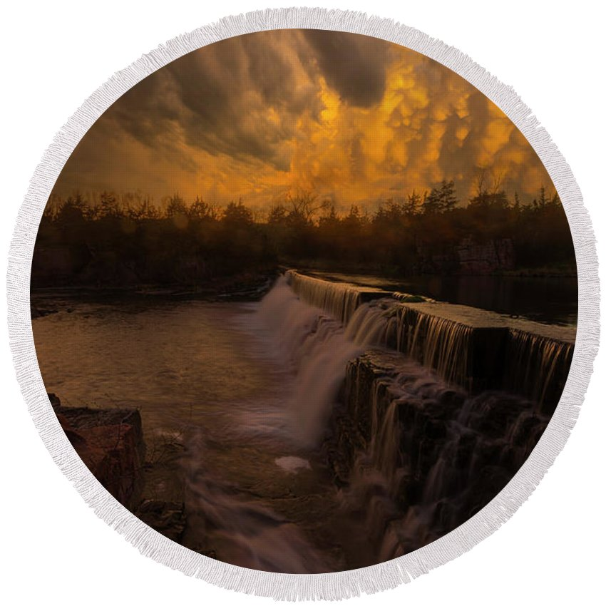 Fire Ky Round Beach Towel featuring the photograph Fire And Water by Aaron J Groen