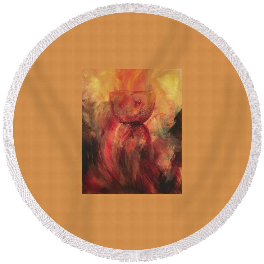 Guam Round Beach Towel featuring the painting Fire Earth Latte Stone by Michelle Pier