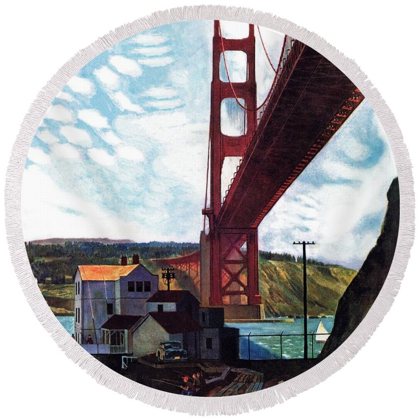 Bridges Round Beach Towel featuring the drawing Fishing Under The Golden Gate by John Falter