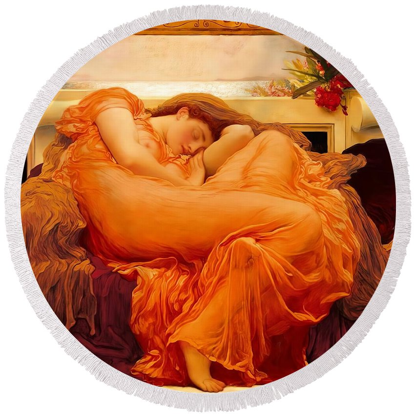 Flaming June Round Beach Towel featuring the digital art Flaming June by Lord Frederick Leighton