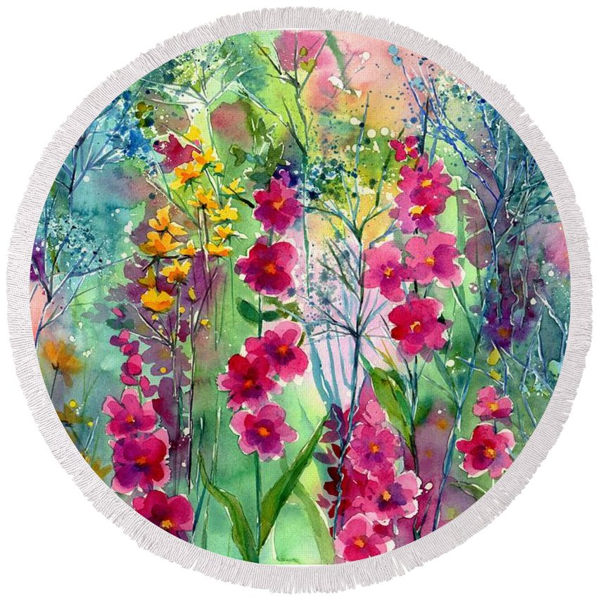 Pink Round Beach Towel featuring the painting Flowery Fairy Tales by Suzann Sines