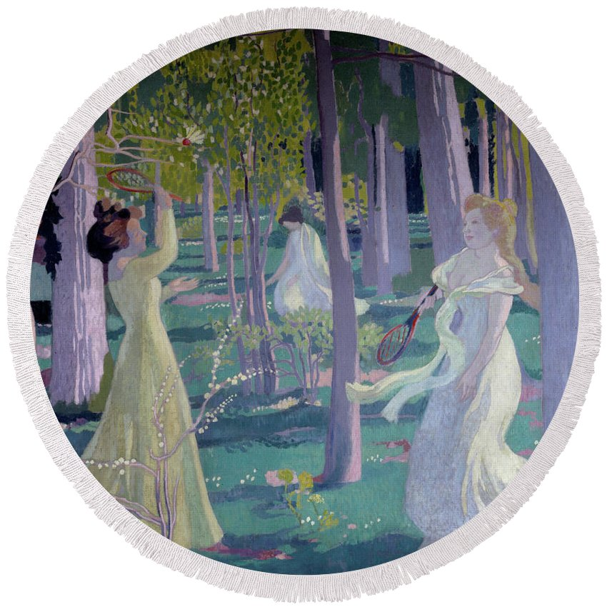 Girl Round Beach Towel featuring the painting Flying Game, Detail, Two Women In A Garden Play A Game by Maurice Denis
