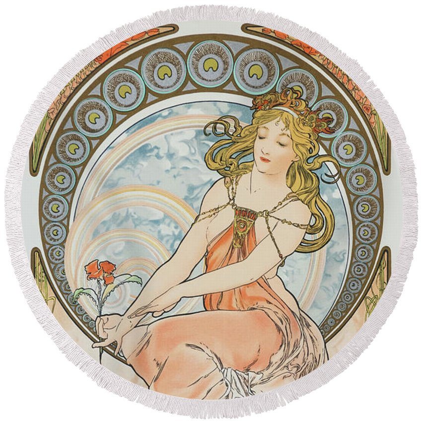 Alfons Maria Mucha Round Beach Towel featuring the painting For Art, Painting 2 - Digital Remastered Edition by Alfons Maria Mucha