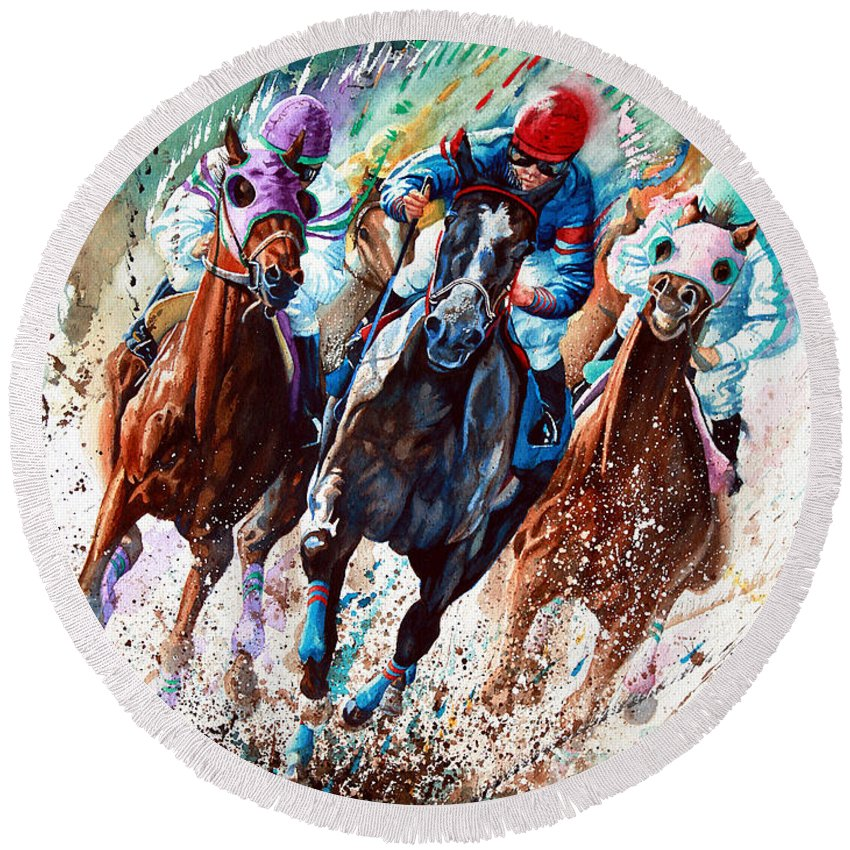 Horse Race Round Beach Towels