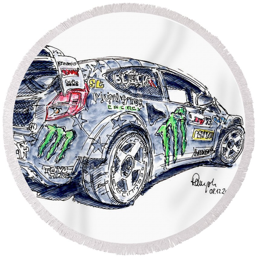 Ford Fiesta St Rx43 Gymkhana Racecar Ink Drawing And Watercolor Round Beach Towel