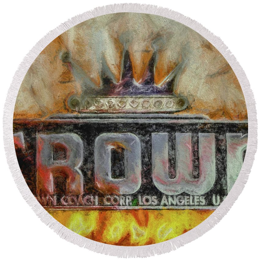 Crown Round Beach Towel featuring the digital art Forged In Fire - Crown - Oil by Tommy Anderson