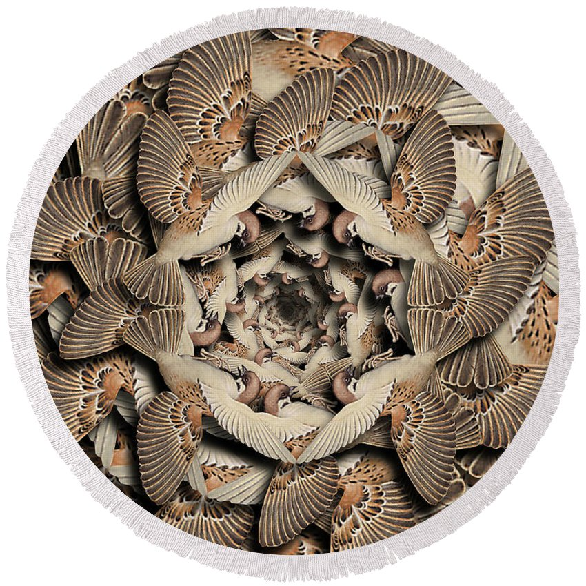 Bird Round Beach Towel featuring the digital art Forms of Nature #16 by Kenneth Rougeau