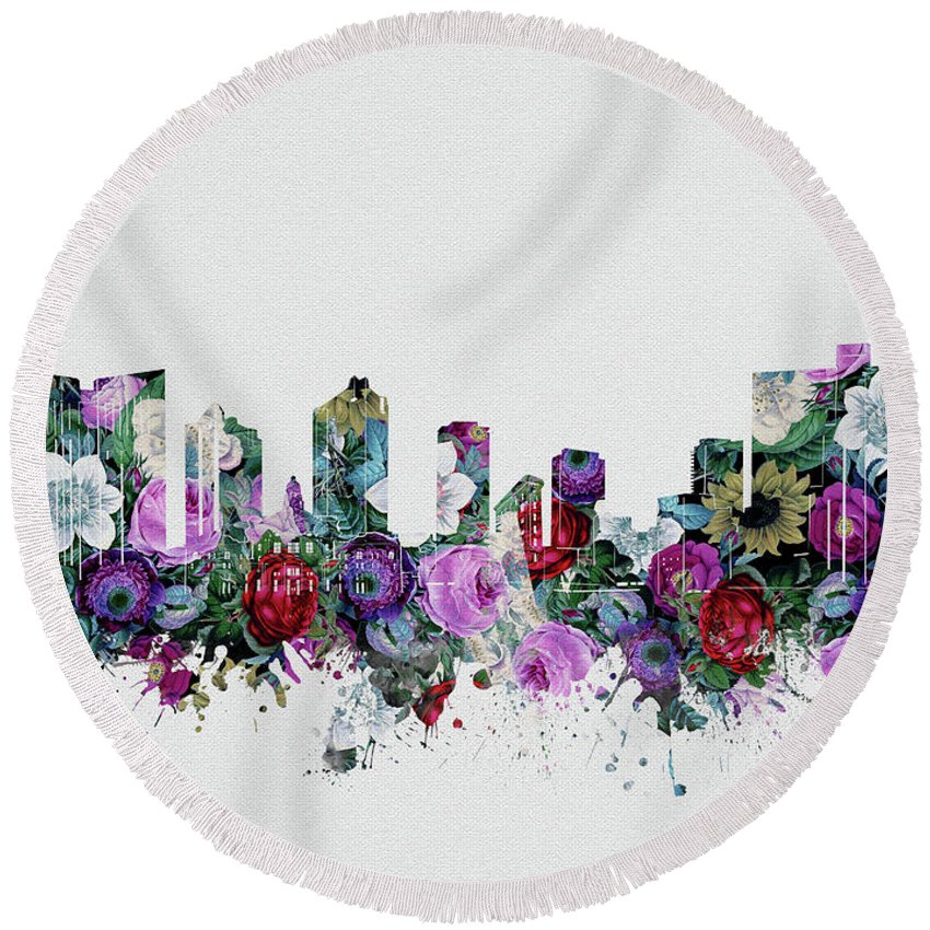 Fort Worth Round Beach Towel featuring the digital art Fort Worth Skyline Floral 2 by Bekim M
