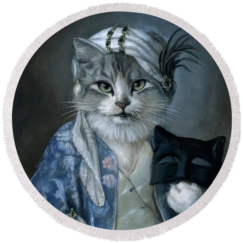 Cat Round Beach Towel featuring the painting Frannie by Melinda Copper
