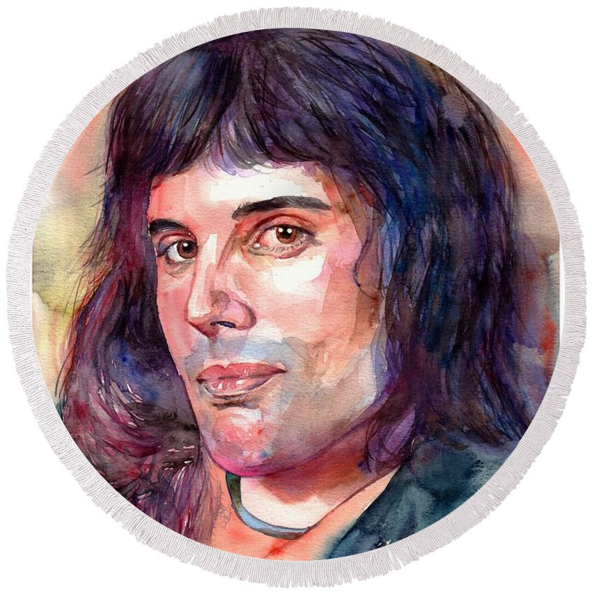 Freddie Mercury Round Beach Towel featuring the painting Freddie Mercury young by Suzann Sines