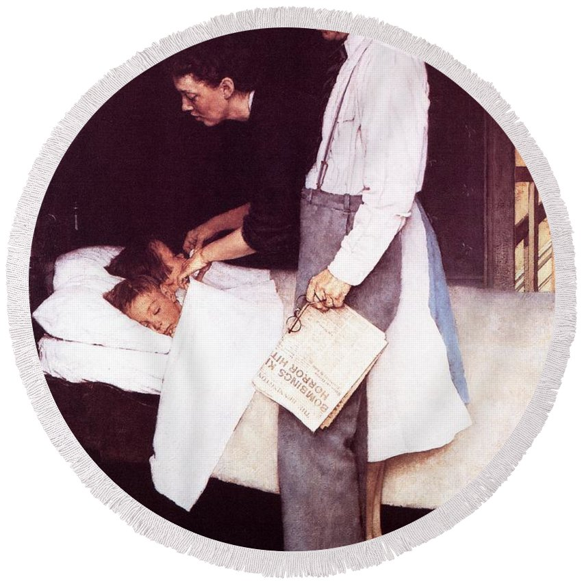Bed Round Beach Towel featuring the drawing Freedom From Fear by Norman Rockwell