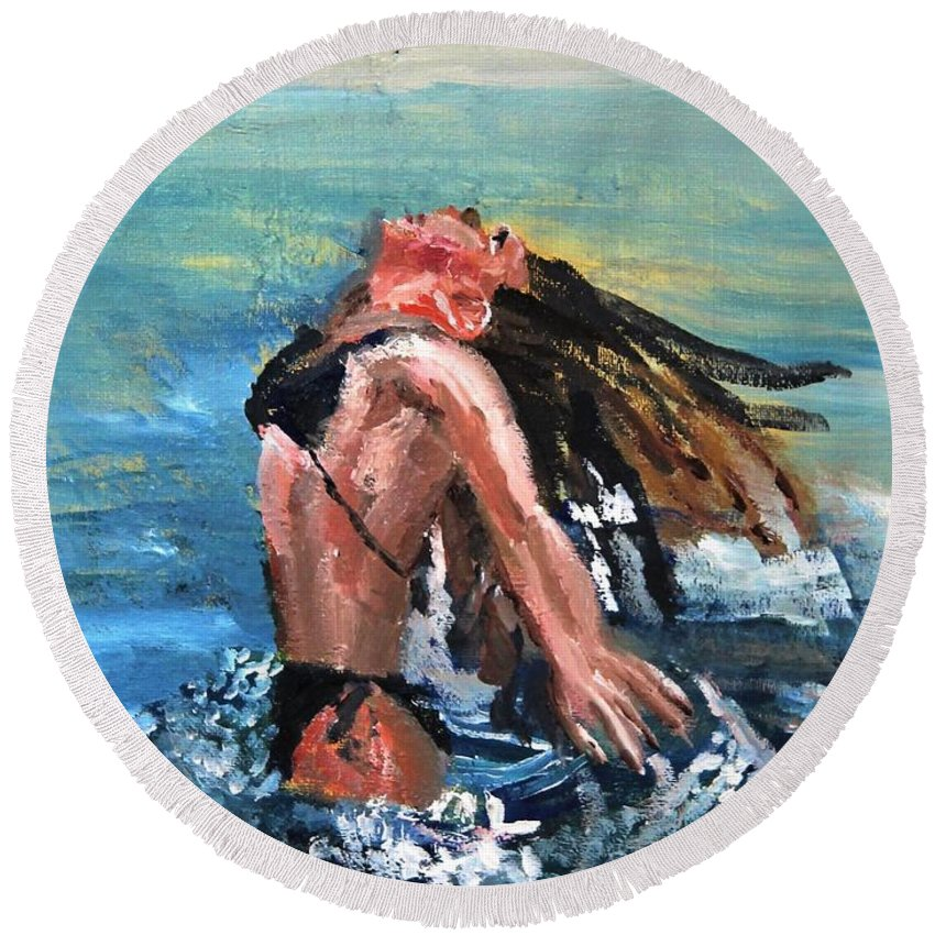 Cape Cod Round Beach Towel featuring the painting Freedom by Michael Helfen