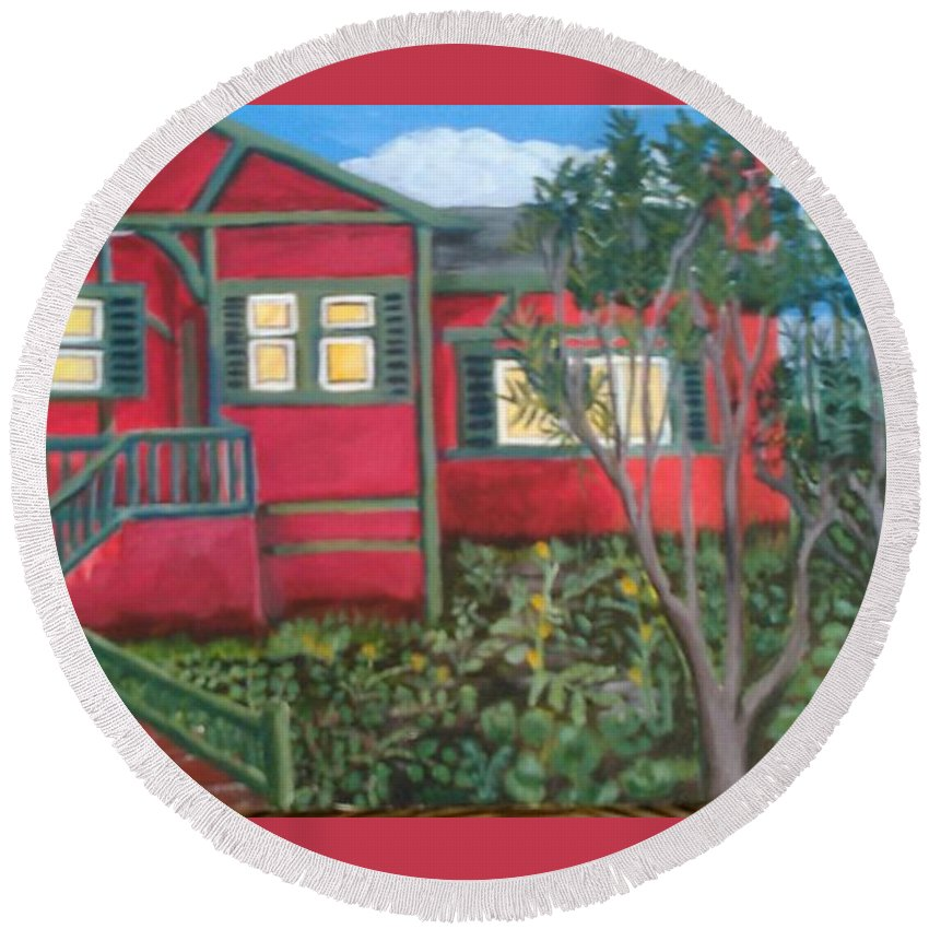 Painting Of House Round Beach Towel featuring the painting Fresh yard by Andrew Johnson