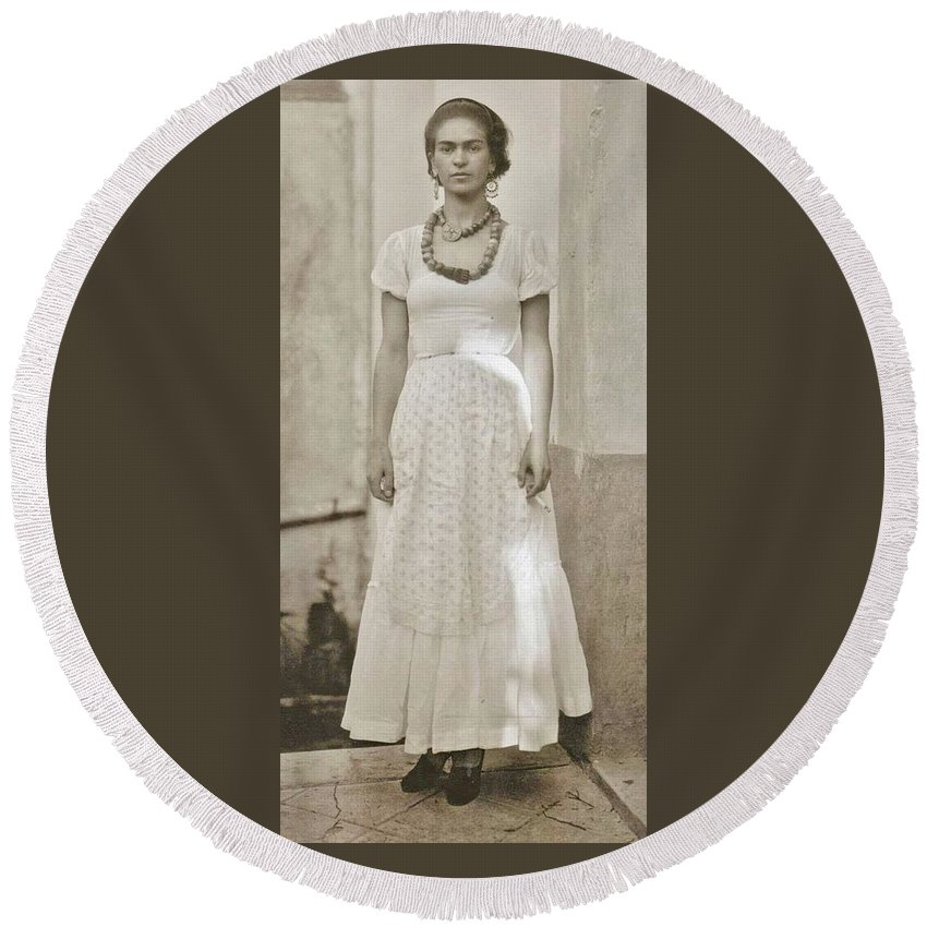 Frida Kahlo Round Beach Towel featuring the photograph Frida In White by Donna Wilson