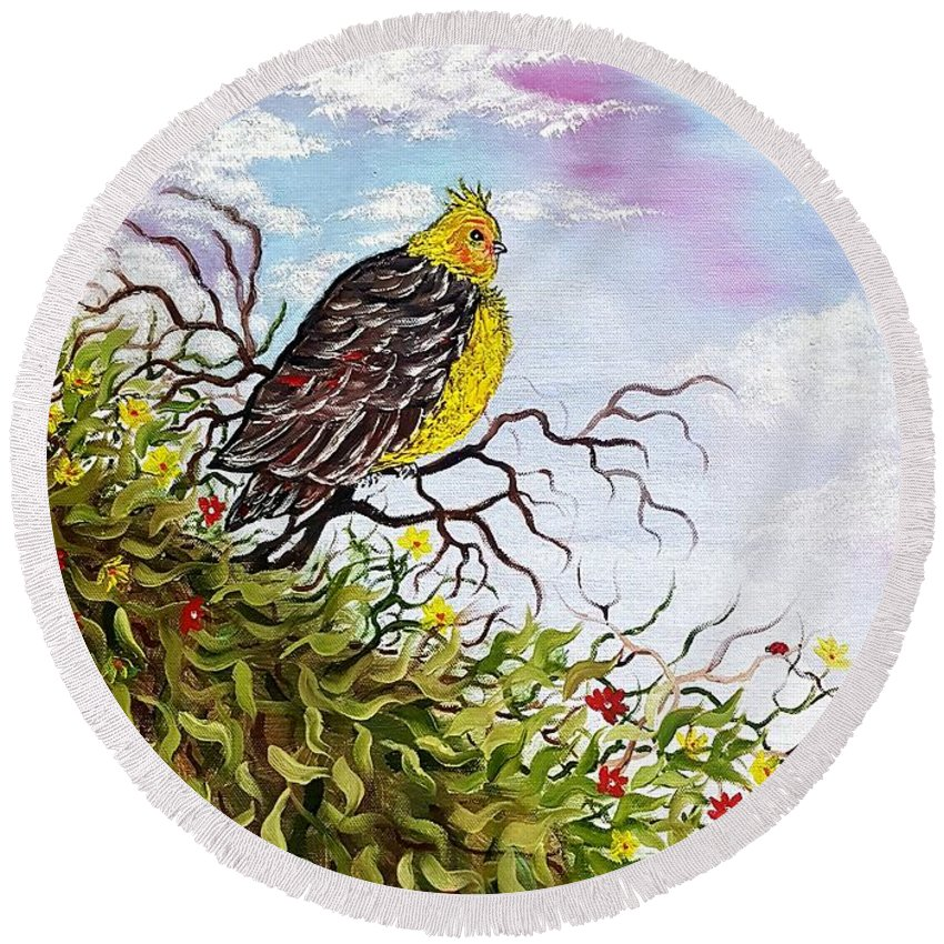 Bird Round Beach Towel featuring the painting Friendly Bird Called Tweet by Angela Whitehouse