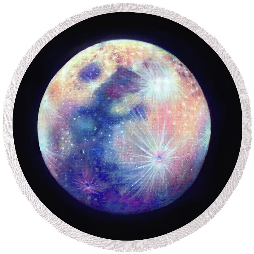 Oil Painting Round Beach Towel featuring the painting Full Moon by Olesya Umantsiva