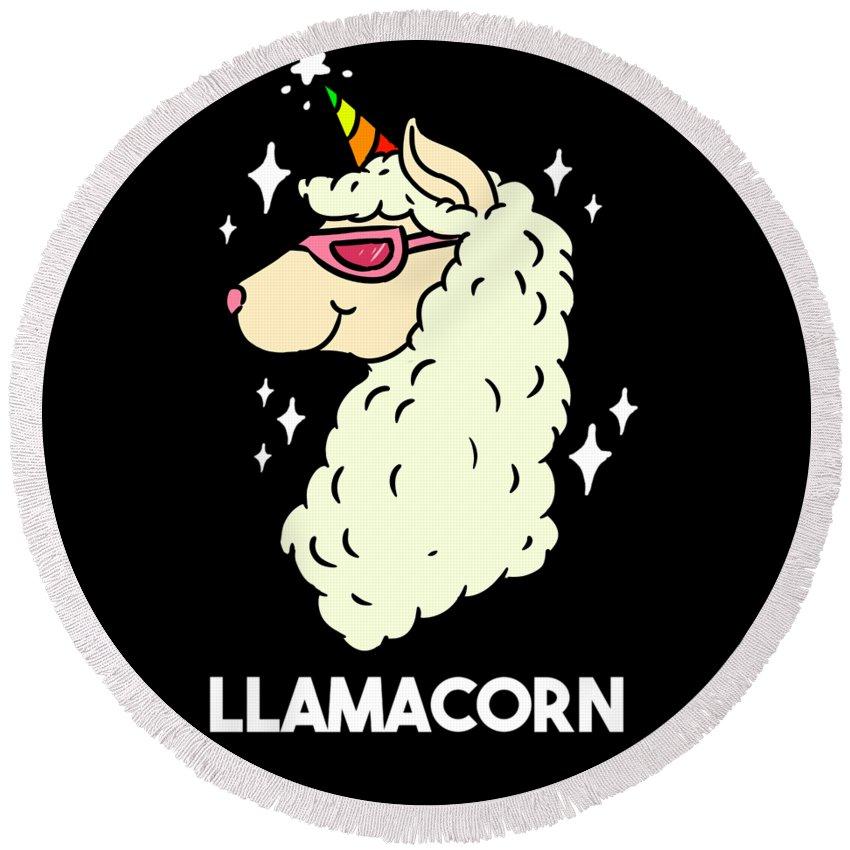 Unicorn Round Beach Towel featuring the digital art Funny Llamacorn Unicorn Alpaca Lama by TeeQueen2603