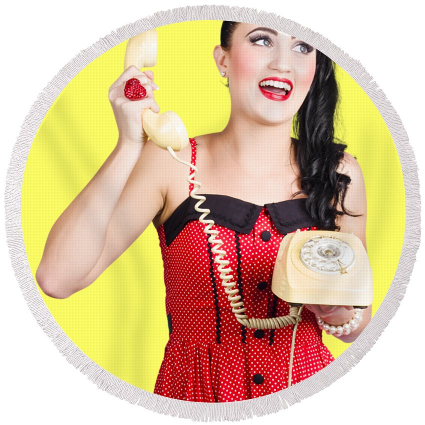 Communication Round Beach Towel featuring the photograph Funny Pin-up Woman Talking On Retro Phone by Jorgo Photography - Wall Art Gallery