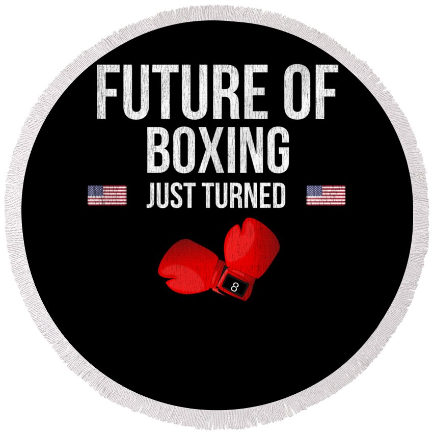 Christmas Round Beach Towel featuring the digital art Future Of Boxing Just Turned 8 by Jose O