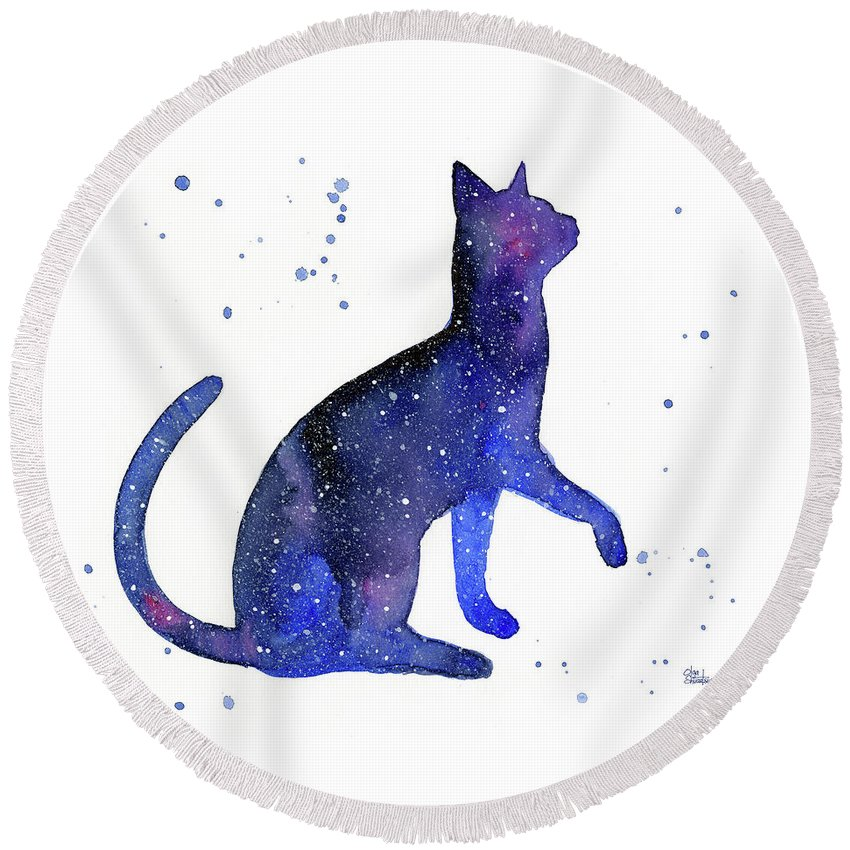 Galaxy Round Beach Towel featuring the painting Galaxy Cat by Olga Shvartsur