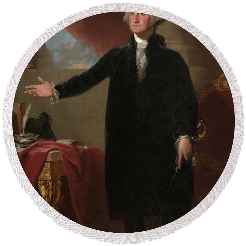 Gilbert Stuart Round Beach Towel featuring the painting George Washington, Lansdowne Portrait, 1796 by Gilbert Stuart