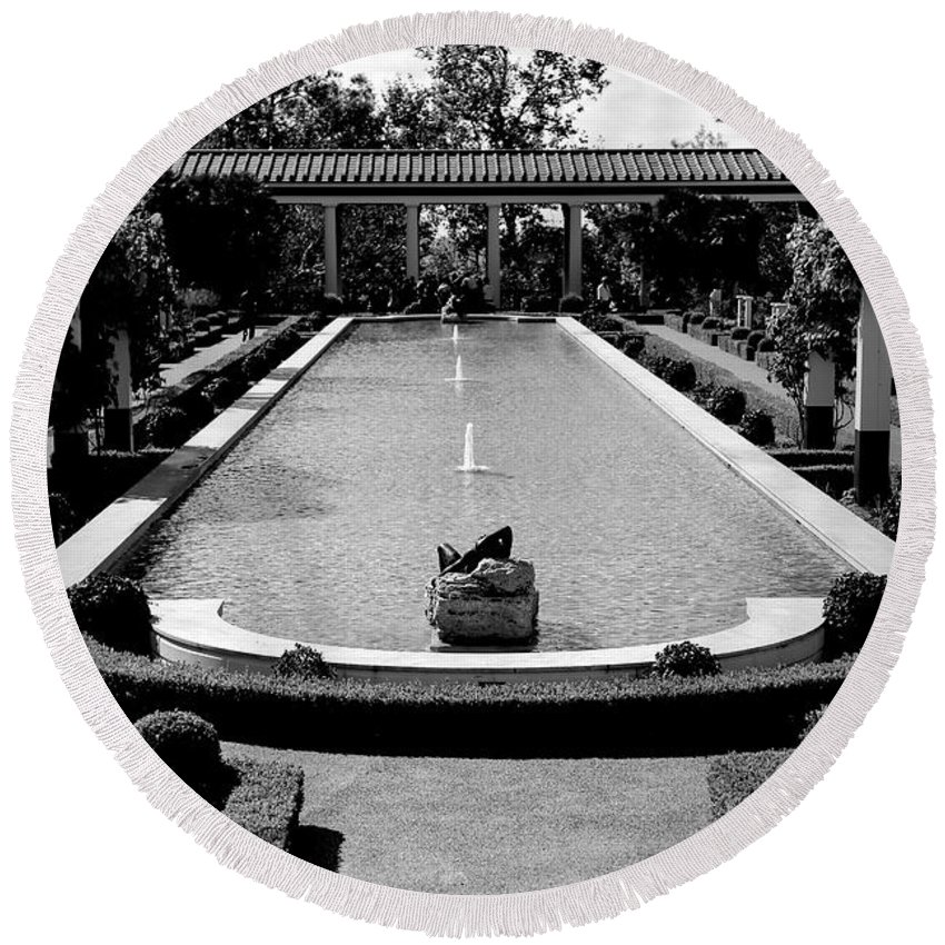 Jp Getty Round Beach Towel featuring the photograph Getty Villa Massive Pool Black White Landscape by Chuck Kuhn