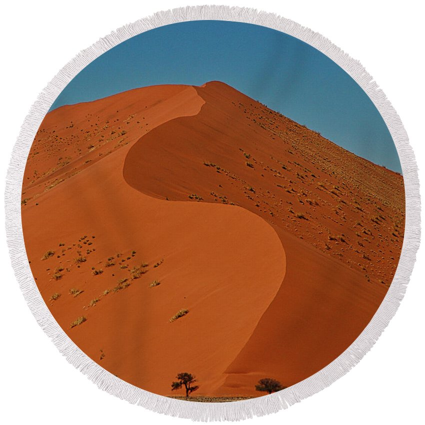 Sand Round Beach Towel featuring the photograph Giant Sand Dune At Soosusvlei, Namibia by Michael Briley